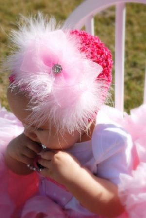 Glamour Marabou Infant Crochet Hat-newborn, infant, baby girl boutique hat, hair bow