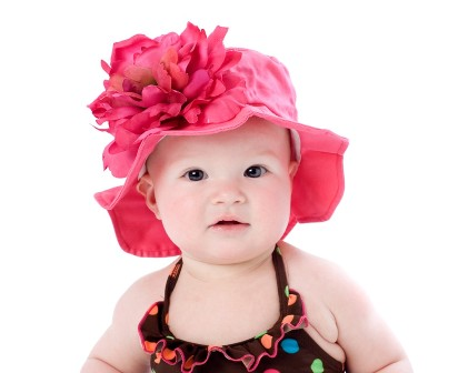 Raspberry Peony Flower Sunhat-summer, infant, baby girl, boutique, flower hat, sun hat, pink