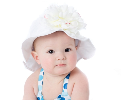 White Peony Sun Hat-summer, infant, baby girl, boutique, sunhat, flower