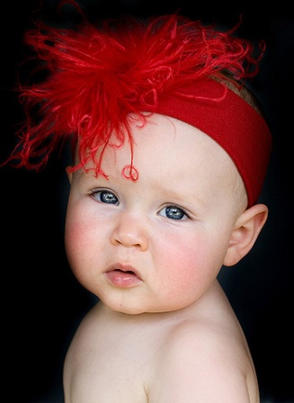 Curly Solid Red Featherband-christmas, ostrich, headband, infant, baby, holiday