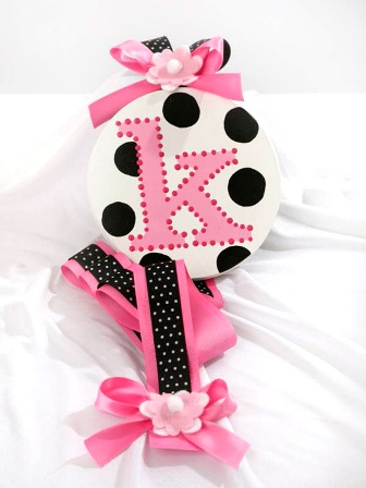 White Black Dots Initial Hair Bow Holder