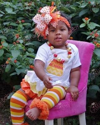 Personalized Candy Corn Halloween Onesie-yellow, orange, halloween, ruffle, boutique, outfit, costume, newborn, infant, baby girl, shirt, onesie