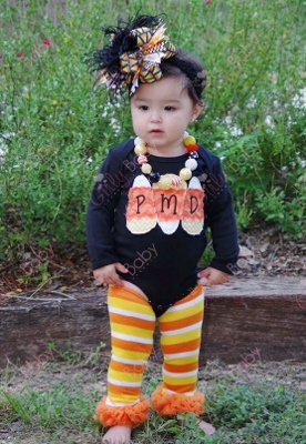 Personalized Monogrammed Candy Corn Halloween Onesie-monogram, monogrammed, halloween, orange, black, candy corn, infant, baby, girl, boutique, costume, outfit, boutique clothing