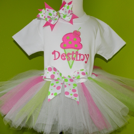 Pink & Green Ice Cream Party Tutu Outfit Set-hot pink, lime, white, ice cream, infant, baby girl, boutique