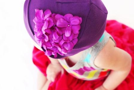 Purple Garden Geranium Flower Hat-