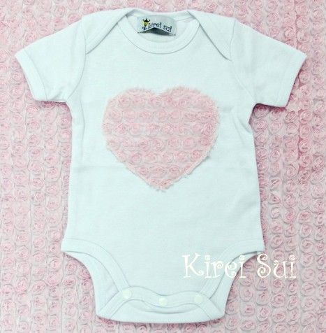 Sweet White with Light Pink Rosette Heart Onesie-romper, infant, baby girl, newborn, couture, pink, outfit