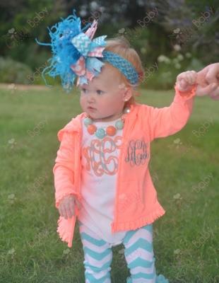 Coral Flamingo & Turquoise Monogram Initial Ruffle Hoodie Jacket-jacket, hoodie, monogrammed, personalized, custom, initial, coral, turquoise, infant, baby, girl, boutique