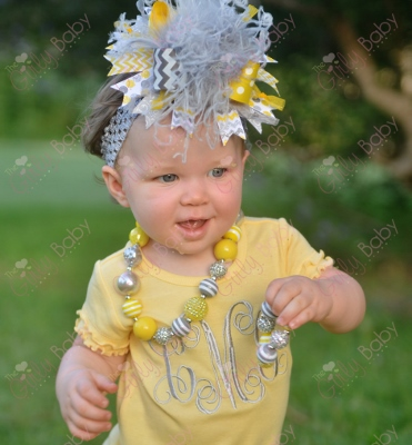 Yellow & Gray Personalized Monogram Initials Ruffle Dress-personalized, initial, monogrammed, yellow, grey, gray, silver, dress, outfit, clothing, set, leg warmers, leggings, chevron, hairbow, bow, headband, infant, baby, girl, boutique