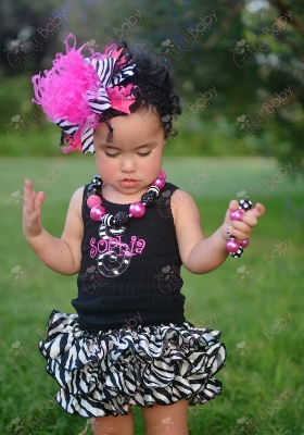 Black & Hot Pink Zebra Monogram Personalized Tank Top-zebra, animal, print, tank, shirt, custom, monogrammed, personalized, outfit, set, bloomers, ruffle, bow, hairbow, headband, diaper cover, clothing, boutique