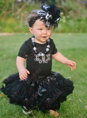 Black & Silver Personalized Monogram Onesie-halloween, christmas, black, grey, gray, silver, monogrammed, custom, monogram, shirt, onesie, outfit, black, pettiskirt, over the top, hairbow, bow, headband, necklace, outfit, set, infant, baby, girl, boutiq
