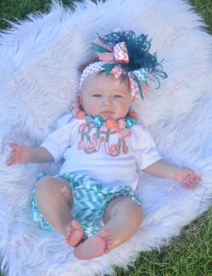 Turquoise & Coral Monogram Initial Chevron Onesie-turquoise, coral, onesie, shirt, monogrammed, summer, outfit, set, newborn, infant, baby, girl ,boutique, chevron, bloomers, hairbow, bow, headband, blue
