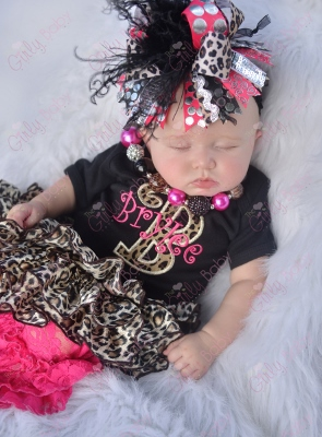 Black Leopard & Hot Pink Personalized Monogram Onesie-monogrammed, cheetah, animal, print, outfit, infant, baby, girl, boutique, clothing, shirt, hot pink, set, bloomers, bow, hairbow, headband