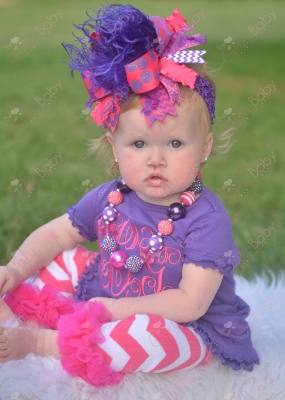 Purple & Hot Pink Monogram Initial Ruffle Dress-purple, hot pink, initials, custom, personalized, monogrammed, chevron, hairbow, dres, outfit, set, headband, leggings, leg warmers, ruffle