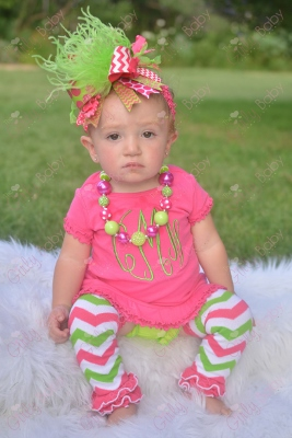 Hot Pink & Lime Monogrammed Initial Ruffle Dress-hot, pink, lime, green, and, chevron, ruffle, dress, outfit, leggings, leg warmers, monogram, personalized, initial, summer, over the top, infant, baby, girl, boutique