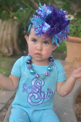 Turquoise & Purple Personalized Romper Outfit-outfit, onesie, romper, outfit, set, over the top, personalized, custom, purple, blue, turquoise, summer, infant, baby, girl, outfit, set