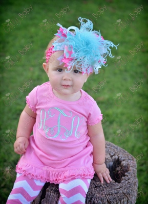 Pink & Aqua Monogram Initial Ruffle Dress-pink, chevron, aqua, monogrammed, ruffle, dress, infant, baby, girl, boutique, outfit, set, hairbow, headband, summer