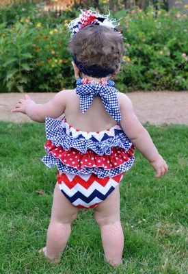 Red White & Blue Chevron Bubble Romper Halter Outfit-red, white, and, blue, chevron, polka, dots, bubble, suit, romper, ruffle, butt, ruffles, outfit, set, infant, baby, girl, boutique, summer, patriotic, usa, american, 4th, forth, fourth, of, july, memorial, day, royal