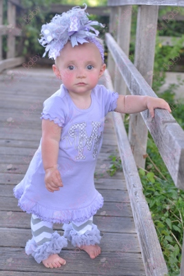 Lavender & Gray Personalized Monogram Ruffle Dress-lavender, purple, grey, gray, dress, outfit, ruffle. infant, baby, girl, boutique, chevron, leggings, leg warmers, bow, hairbow, over the top, set