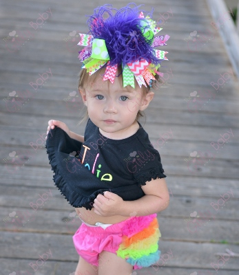Black Rainbow Personalized Ruffle Dress-dress, colorful, personalized, embroidered, colorful, black, orange, turquoise, blue, hot, pink, lime, green, and, yellow, neon, bright, summer, infant, baby, girl, boutique, over the top, outfit, set