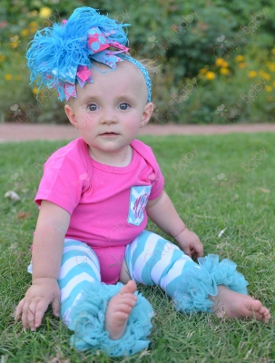 Hot Pink & Turquoise  Monogram Initial Chevron Pocket Onesie-hot pink, turquoise, infant, baby, girl, boutique, outfit, set, onesie, shirt, chevron, leggings, leg warmers, bow, hairbow, headband, over the top, ruffle, monogrammed, personalized, custom