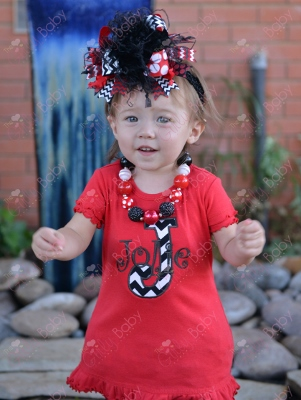 Red & Black Chevron Personalized Monogram Ruffle Dress-red and black, chevron, christmas, holiday, red, dress, outfit, over the top, clothing, infant, baby girl, boutique