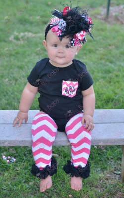 Black & Hot Pink Monogram Initial Chevron Pocket Onesie-black and hot pink, black, hot pink, onesie, shirt, infant, baby, girl, boutique, outfit, set, leggings, ruffle, leg warmer, chevron, bow, hairbow, shirt