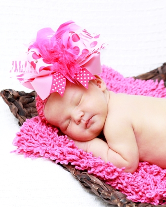 She's So Sassy - Over-the-Top Hair Bow Headband-hot pink, feathers, pink