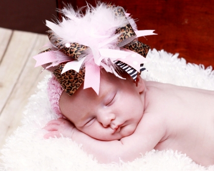Posh Wild Diva - Over-the-Top Hair Bow Headband-animal print, leopard, pink, light pink, feathers, sweet, infant, baby girl, boutique over the top hairbow