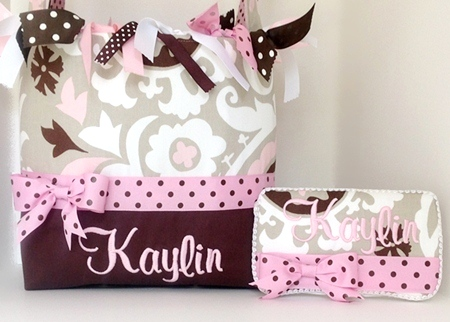 Kaylin Pink Pudding Diaper Bag-diaper bag, boutique, monogram, baby, infant, girl, tote