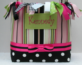 Funky Stripes Boutique Diaper Bag-infant, baby girl, boutique, tote bag, pink, lime, black