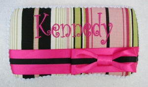 Boutique Stripes Wipe Case-pink, hot pink, brown, green, infant, baby girl, boutique, wipee