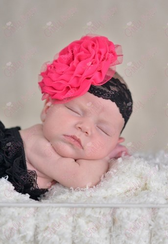 Dark Pink Chiffon Flower on Black Lace Headband-Beautiful, Black, Lace, Headband, Dark Pink ,Chiffon, Flower ,Pearl , Rhinestone, bling, infant, newborn, hot pink, flower