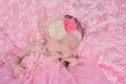 Precious Pink Flower Petti Dress with Matching Headband Outfit Set-Set, Dress ,Headband, PettiDress, Pink Ruffle, Ranuculus, Boutique, Flower, Petti, Dress, Rhinestone, Bling,Feathers, newborn, infant, baby, girl, couture, take home