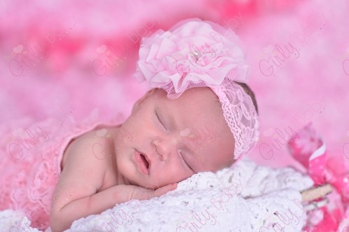 Pink Lace Pearl Chiffon Flower Infant Headband-pink, pearl, lace, newborn, infant, light pink, baby, Beautiful, Lace Headband, Flower ,Pearl ,Rhinestone