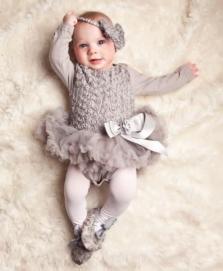 Romantic Silver Romper Pettidress With Rosettes, Matching Headband & Shoes-romantic,silver,romper,pettidress, rosettes,christmas,holiday,wedding,flower girl,dressy,dress,grey,gray