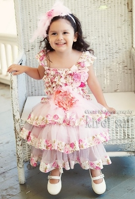 Rose Lace Tier Dress with matching Feather Sash and Headband-rose, floral, spring, easter, flower, girl, dress, fancy, tea party, girly, flower girl, wedding, vintage