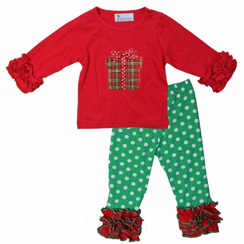 Holiday Plaid Christmas Gift Ruffle Shirt & Pants Outfit Set-red and green, christmas outfit, christmas plaid, ruffle pants, ruffle shirt, polka dots, christmas set, holiday outfit, baby girl, boutique clothing