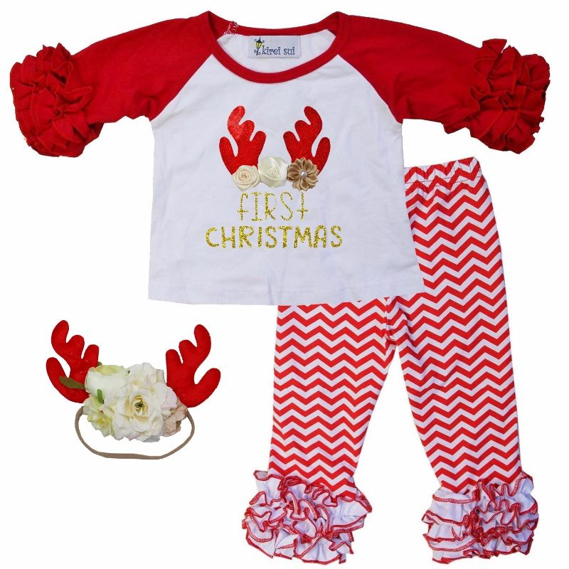 My First Christmas Antler Ruffle Pants Outfit Set-red, white, antlers, deer, first christmas, ruffle pants, outfit, gold glitter, christmas outfit, holiday, red and white