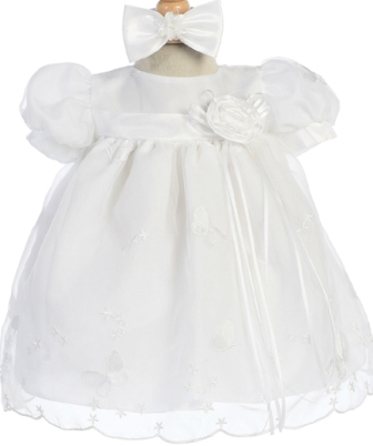 White Embroidered Organza Baby Dress