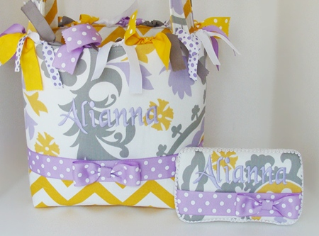 Lavender Harmony Yellow Chevron Diaper Bag-yellow, lavender, purple, grey, gray, polka dot, diaper bag, tote, monogram, personalized, custom