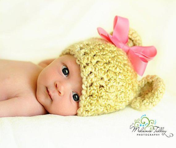 Bright Green Newborn Baby Bear Crochet Knit Hat-beanie, lime, hot pink, green, infant, baby girl