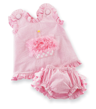 Adorable Pink Cupcake Pinafore Bloomer Set