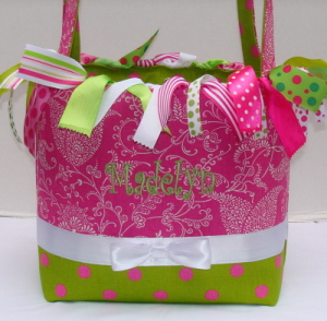 Hot Pink & Lime Boutique Diaper Bag-hot pink, lime green, infant, baby, girl, boutique diaper bag, tote