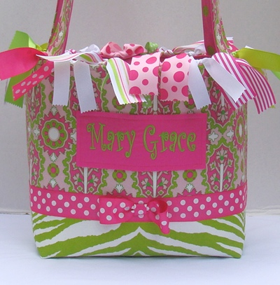 Pink & Green Zebra Boutique Diaper Bag-tote bag, baby bag, infant, boutique, pink, lime