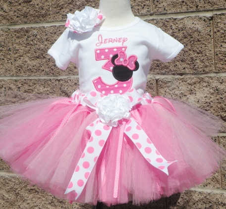 Hot Pink & Black Miss Mouse Polka Dot Birthday Tutu Outfit Set-minnie mouse, minnie mouse tutu, outfit, infant, baby, girl, clothing, birthday party, first birthday, 1st, birthday, pink, black, polka dots, disney, mickey, minnie, mouse