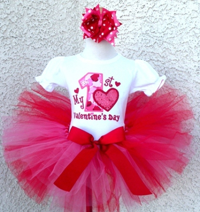My First Valentines Day Red & Hot Pink Tutu Outfit Set-red, white, hot pink, hearts, tutu, onesie, shirt, love, valentine, valentines, valentine's, day