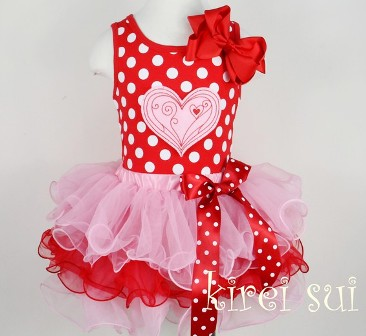 Pink & Red Valentine Polka Dot Heart Pettiskirt Outfit Set