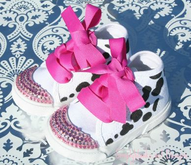Cow Swarovski Bling Baby Shoes