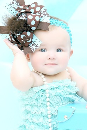 Brown & Aqua Over the Top Hair Bow Headband-brown and turquoise, blue and brown, hairbow, aqua and brown