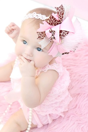 Sassy Pink Giraffe Over the Top Hair Bow Headband-pink and brown, animal print, hairbow